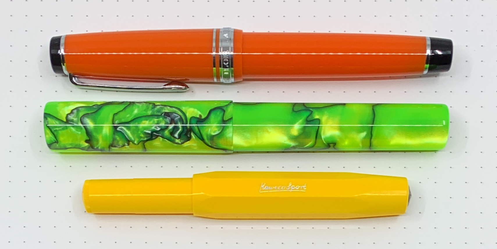 Top to bottom: Sailor Pro Gear, Woodshed, Kaweco Sport.