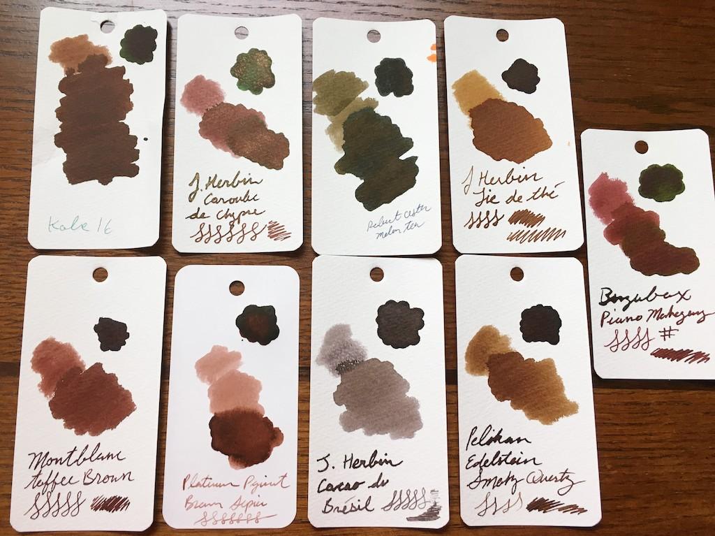 Platinum Pigment Brun Sepia Ink Samples