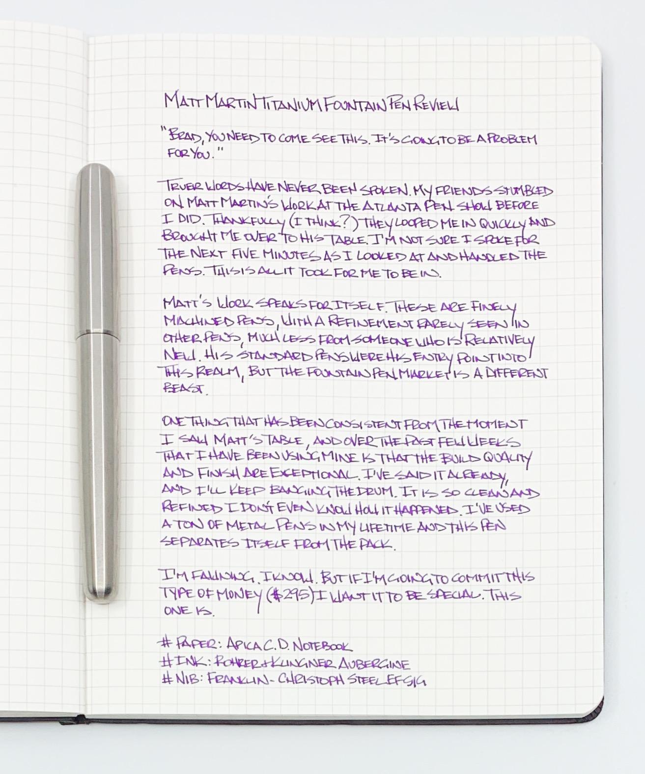 Matthew Martin Fountain Pen Writing
