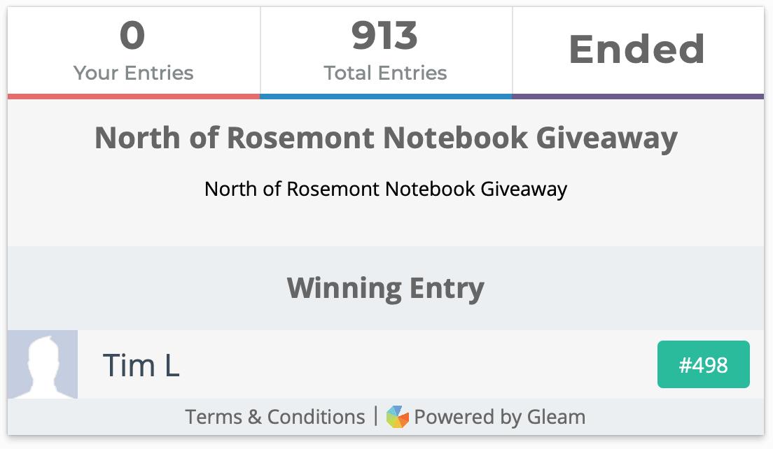 North of Rosemont Notebook Giveaway Winner