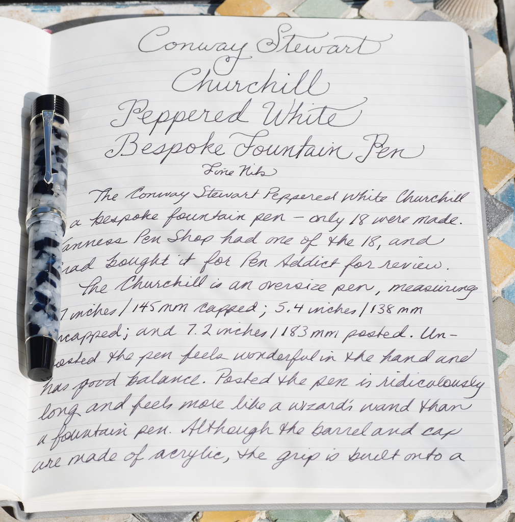 Conway Stewart Churchill Peppered White Bespoke Fountain Pen Writing