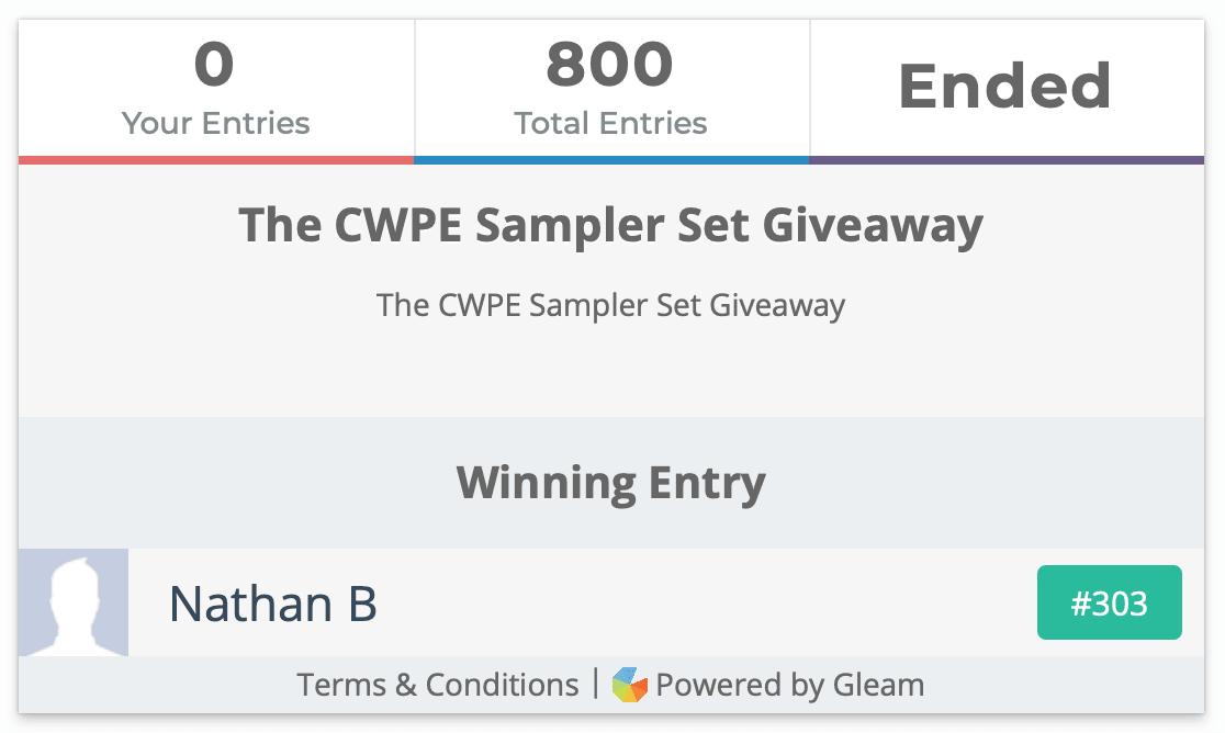 CWPE Sampler Set Giveaway Winner