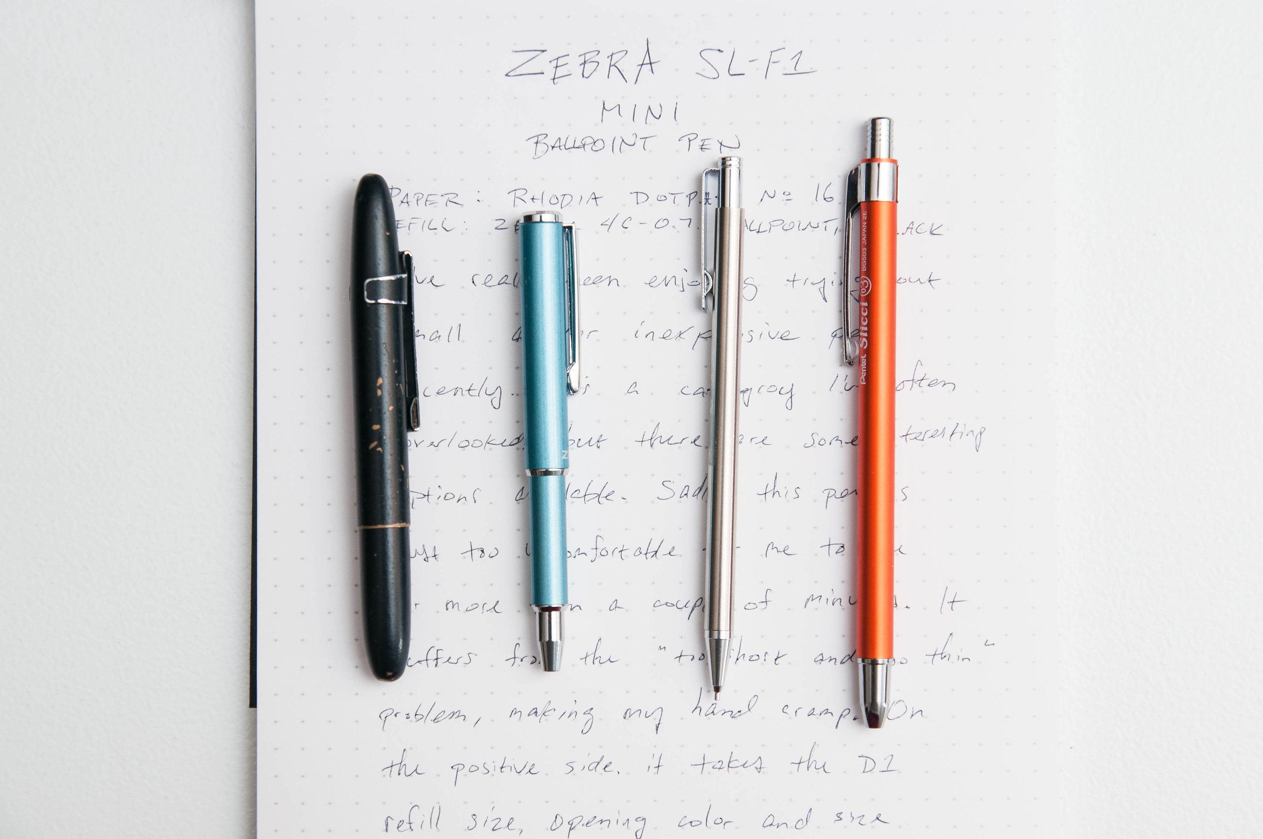 Zebra SL-F1 Mini Ballpoint Pen Comparison