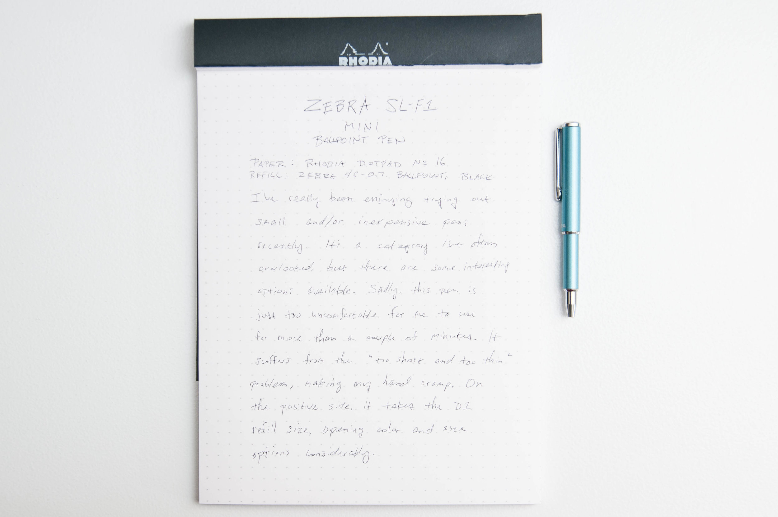 Zebra SL-F1 Mini Ballpoint Pen Writing