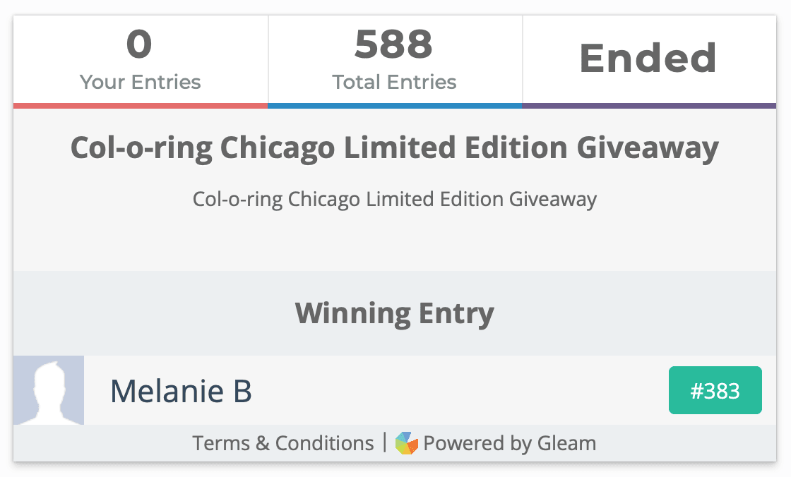 Col-o-ring Chicago Limited Edition Giveaway Winner