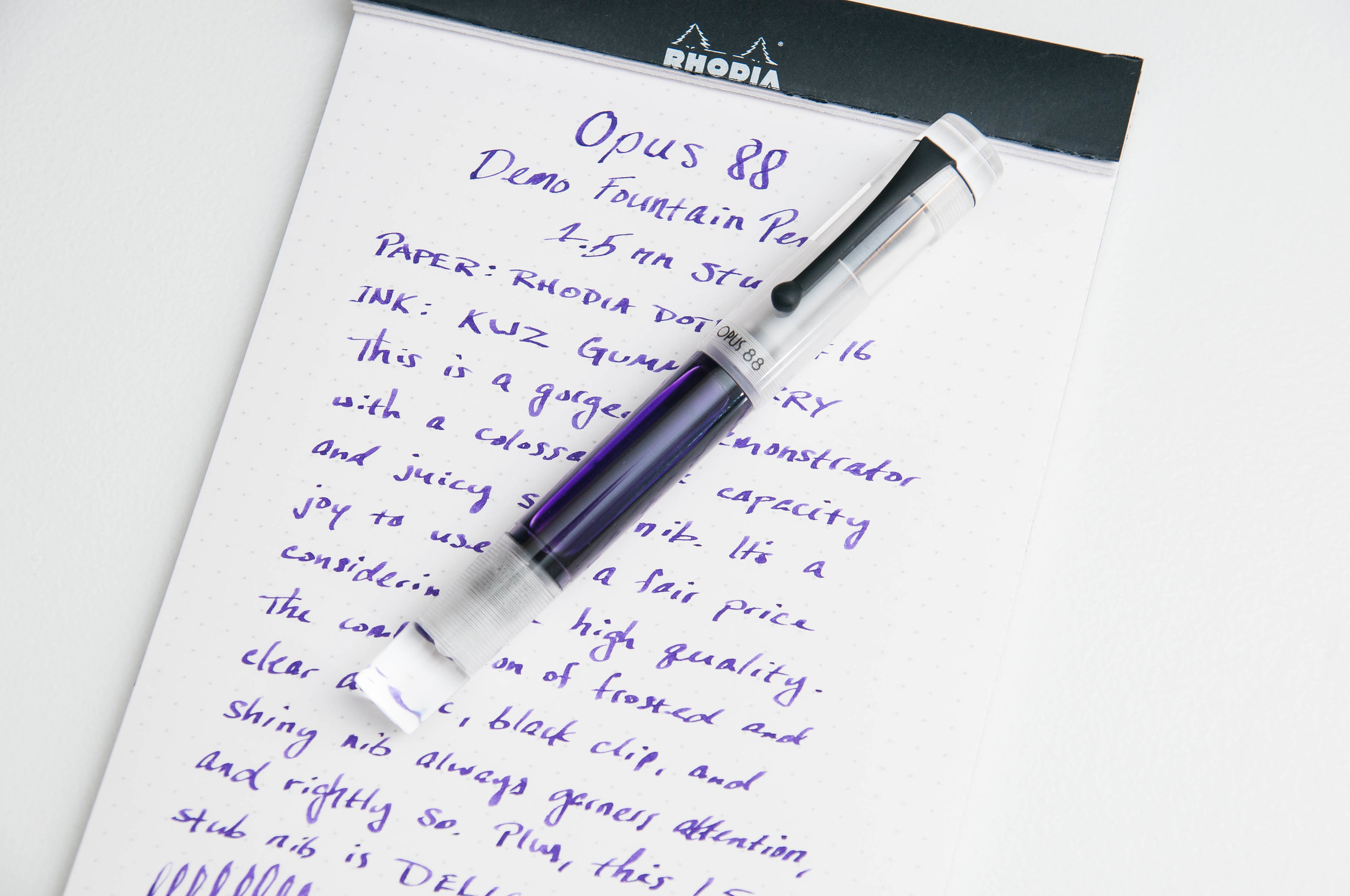 Opus 88 Demonstrator with 1.5mm Stub Nib Review