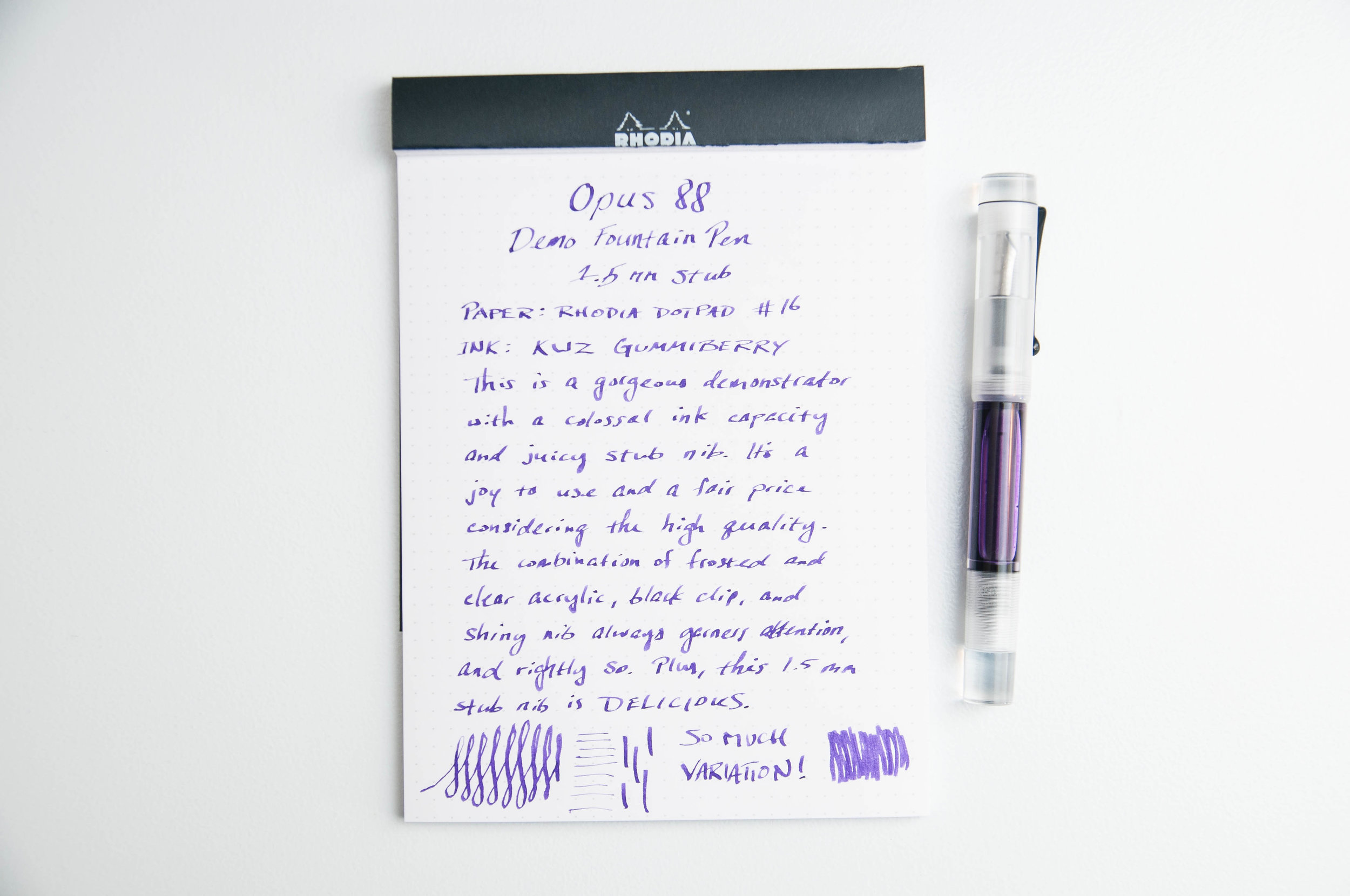 Opus 88 Demonstrator Writing