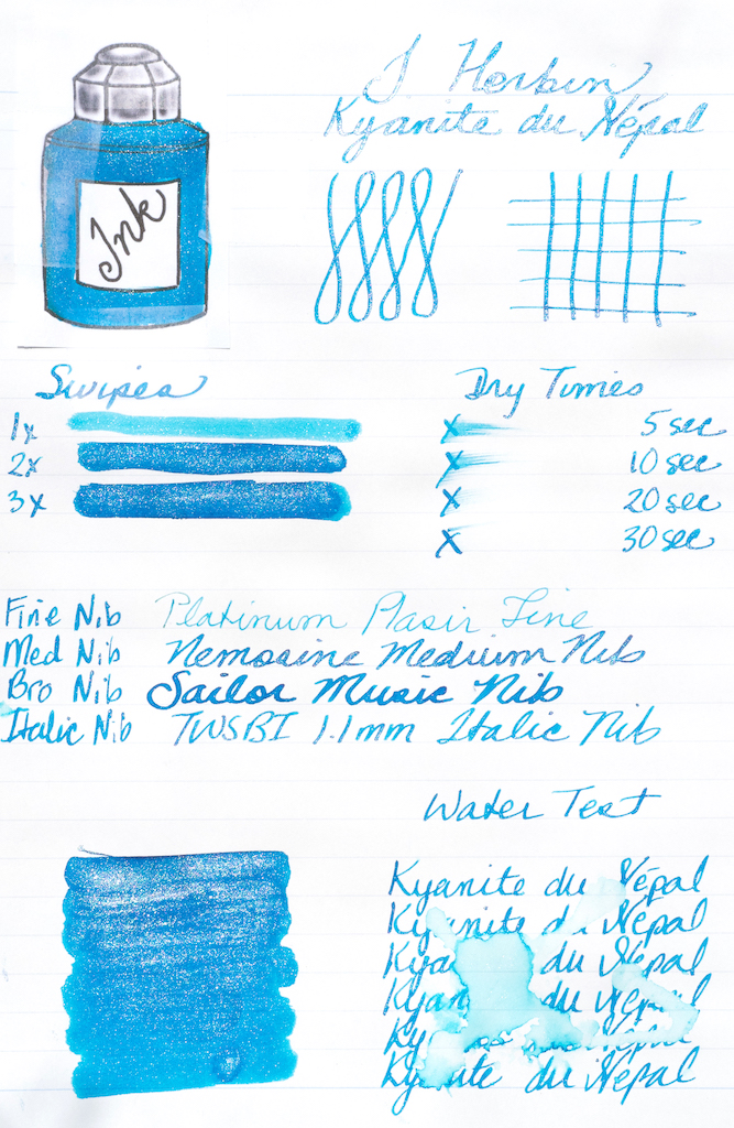 J. Herbin Kyanite du Népal Ink Test