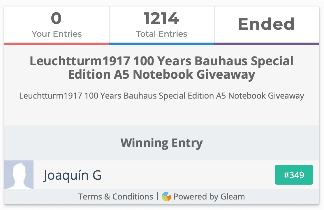 Leuchtturm1917 100 Years Bauhaus Special Edition A5 Notebook Giveaway Winner