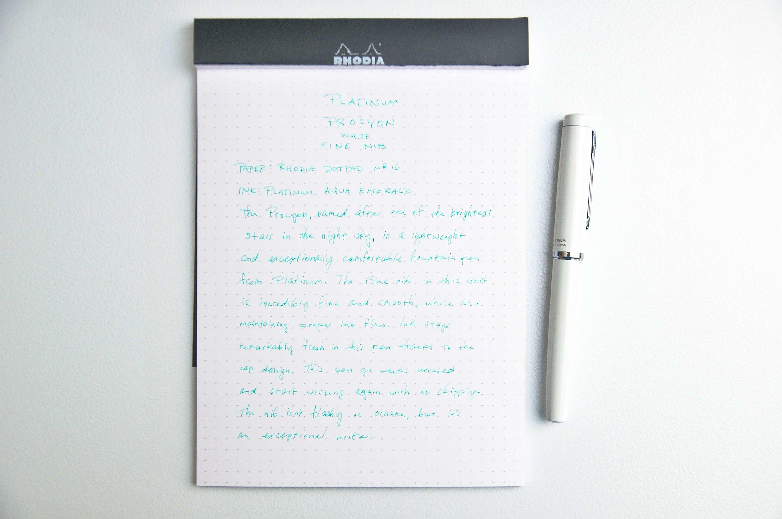 Platinum Procyon Fountain Pen Writing