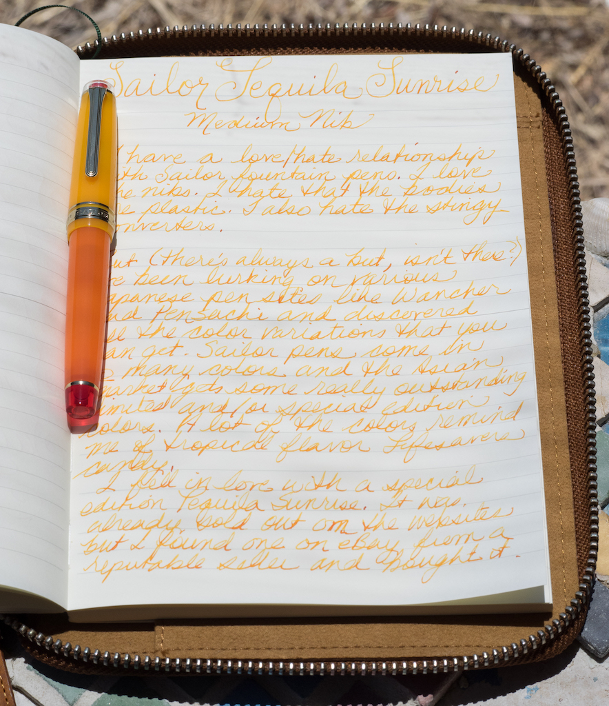 Sailor Pro Gear Tequila Sunrise Writing