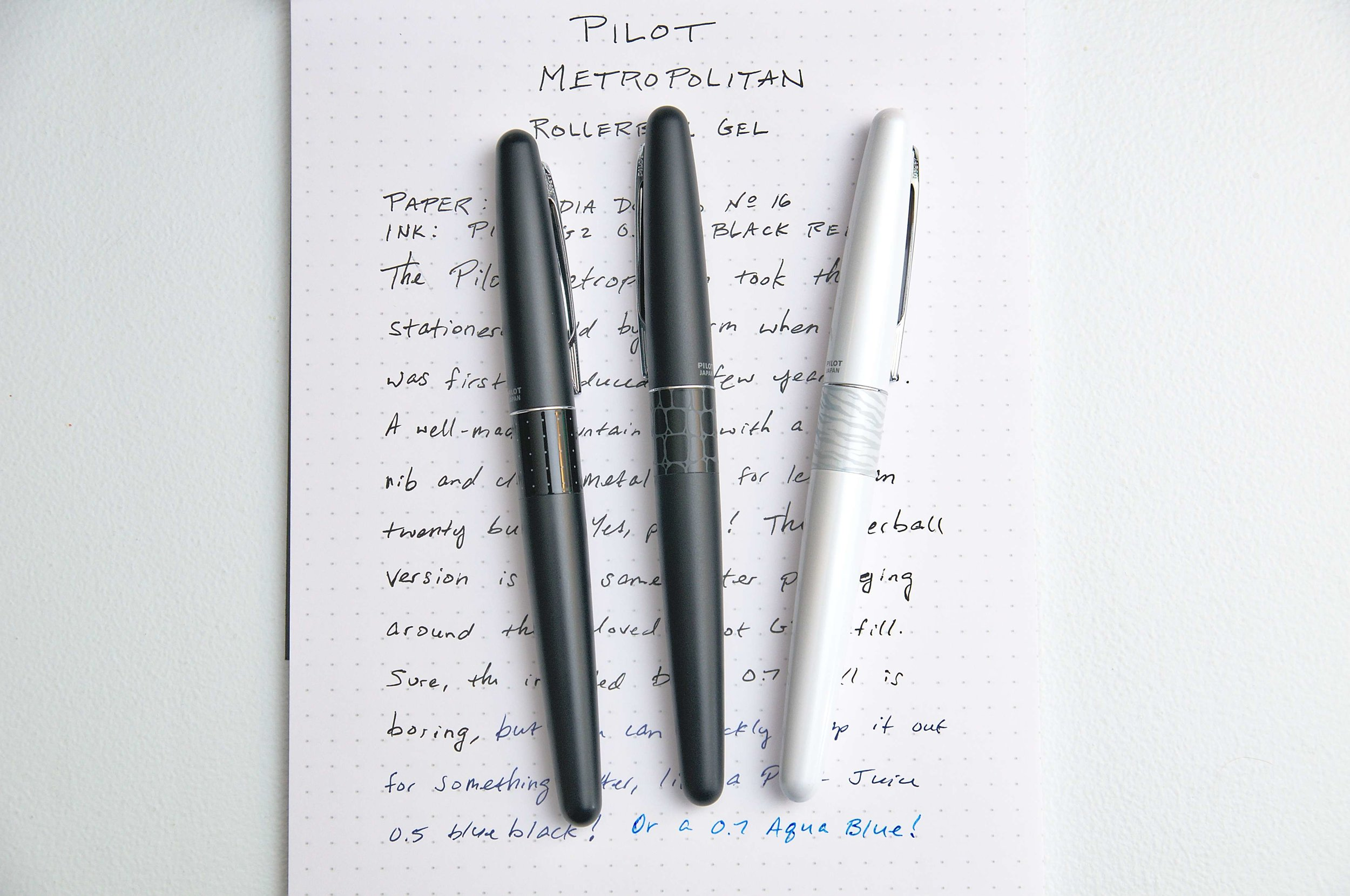 Pilot Metropolitan Rollerball Gel Pen Comparison