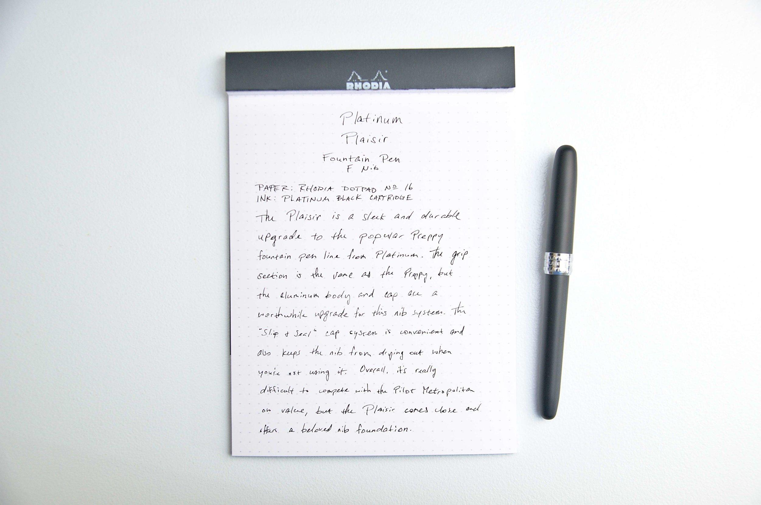 Platinum Plaisir Fountain Pen Writing