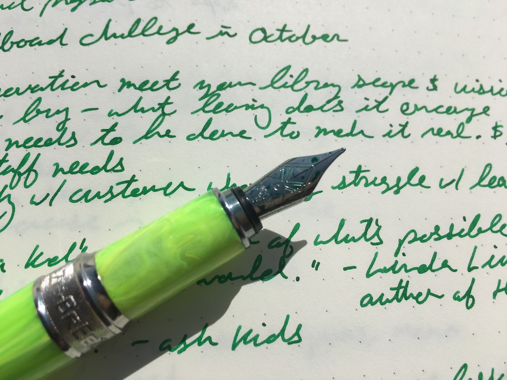 Visconti Breeze Lime Fountain Pen Writing