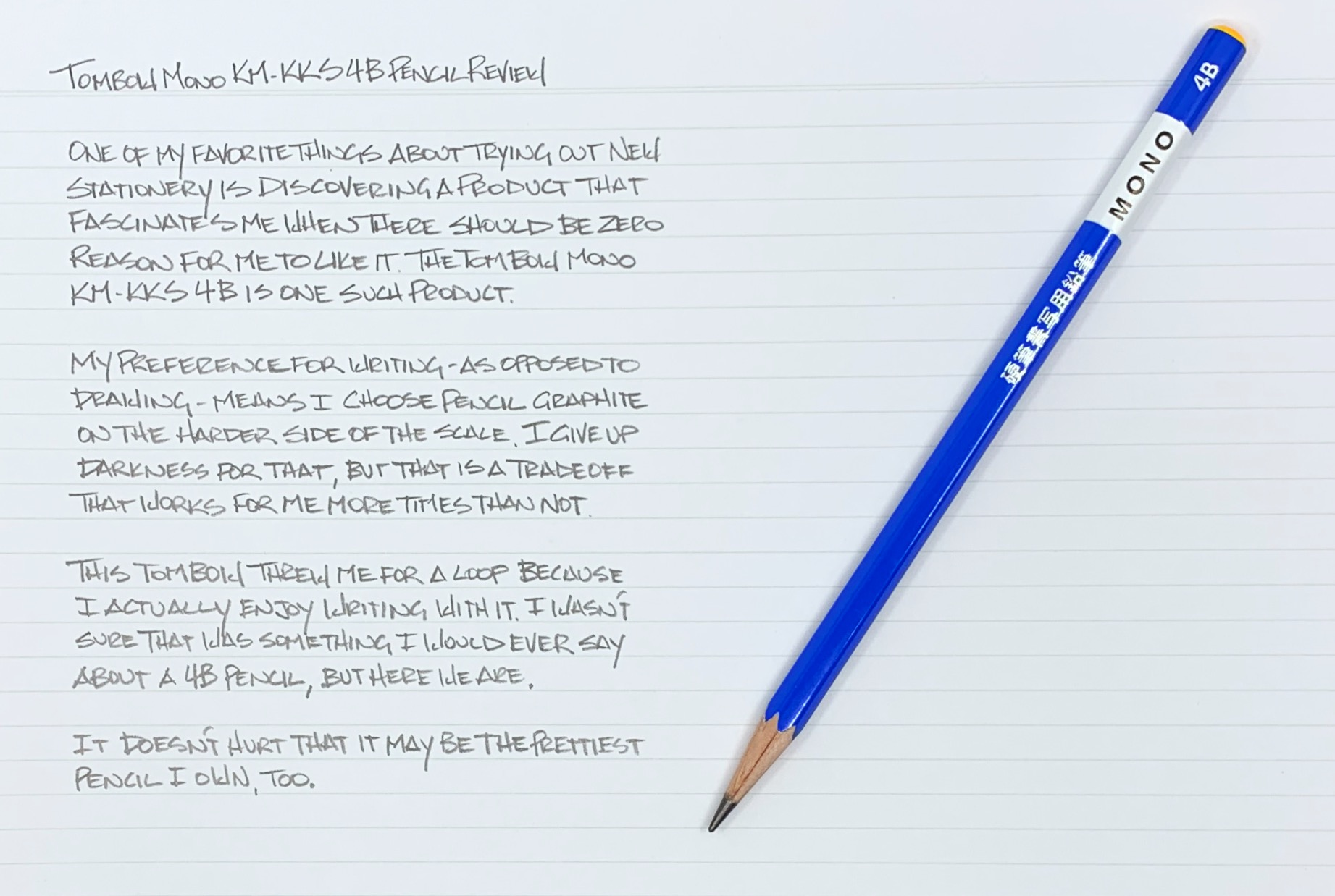 Tombow Mono KM-KKS 4B Pencil Writing Sample