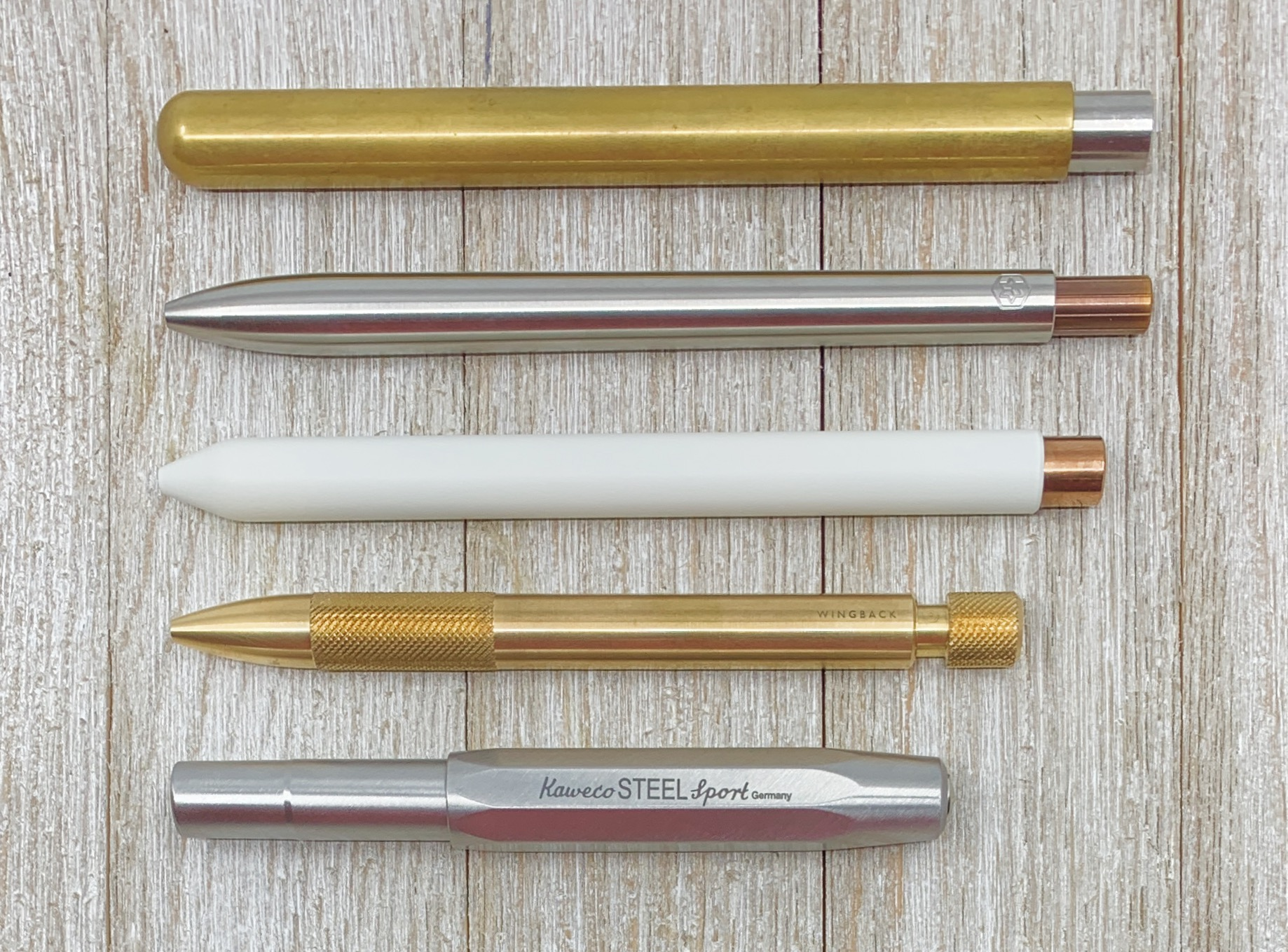 From top to bottom: Pen Type-B, Ajoto, Mark One, Wingback, Kaweco Sport.