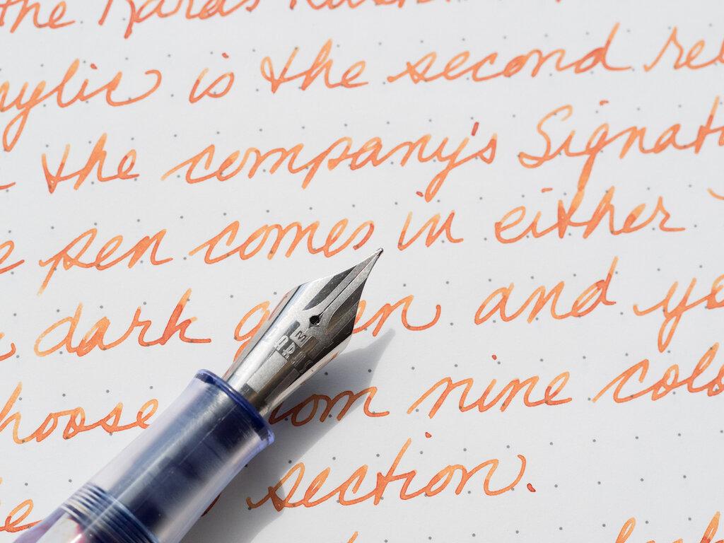 Karas Kustoms Vertex Fountain Pen Writing up close