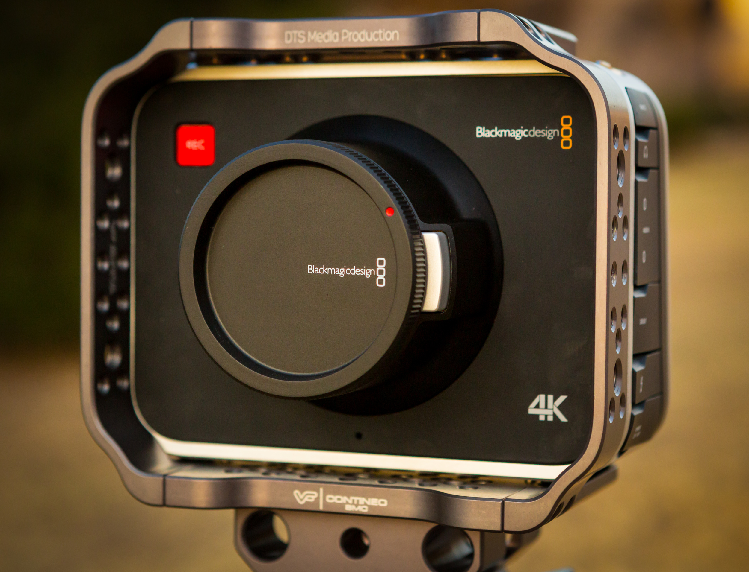 The Blackmagic Production Camera 4K inside of a Cinestar Industries cage