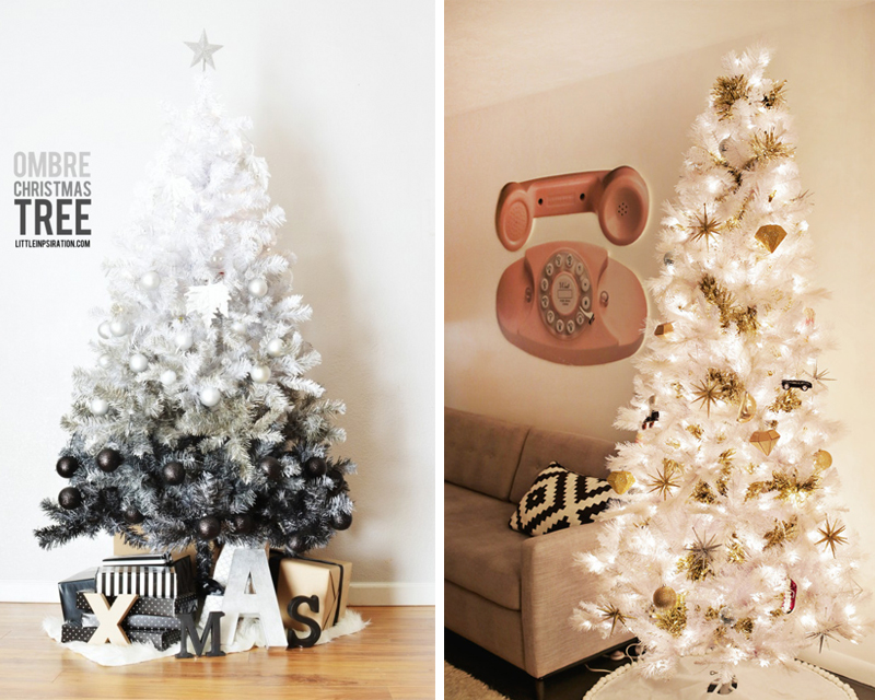 1.  Ombre Tree   2.  White and Gold Tree