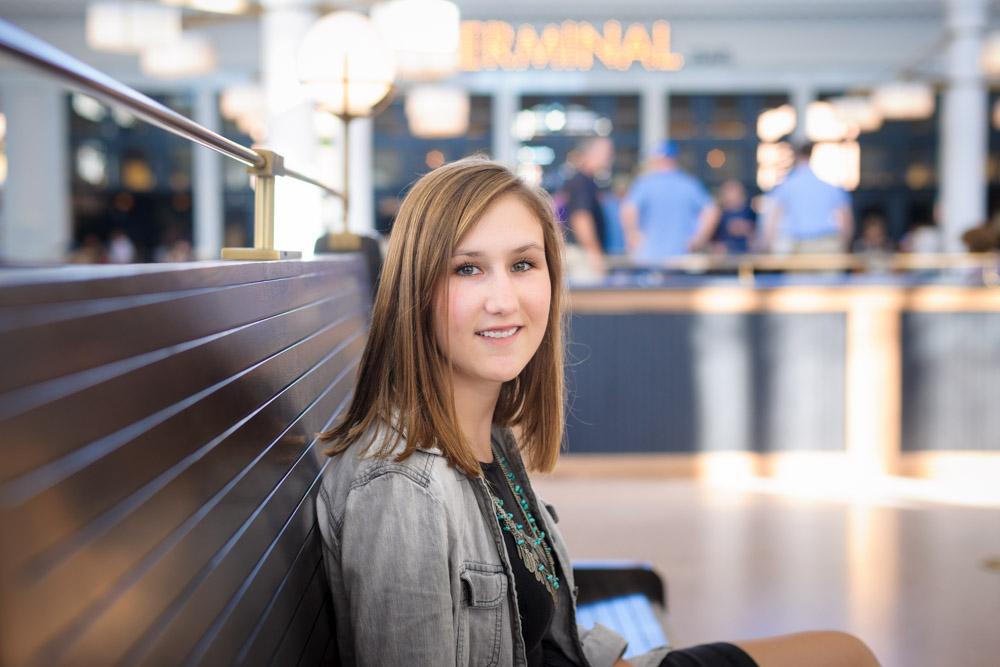 Senior portraits at Terminal Bar, Denver, CO