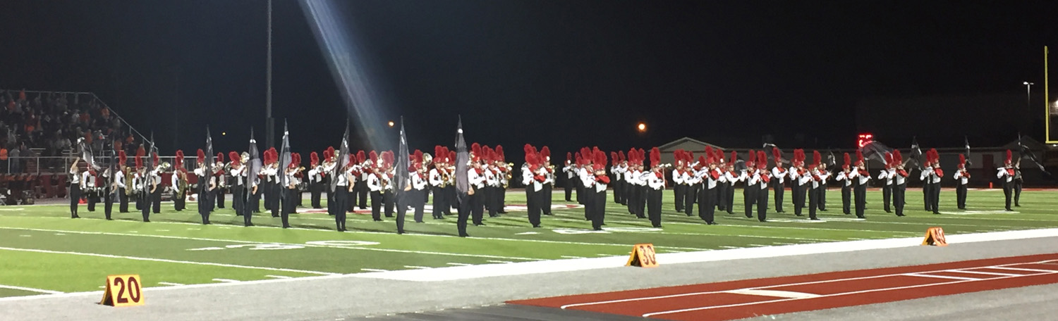 The MHS Marching Band, winner of 11 straight State Championship Titles, takes the field. in 2016. Photo by Jaque Barnes Austin.