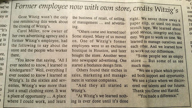 Article from Morton Newspaper, about the closing of Witzig's store on 12/31/94.