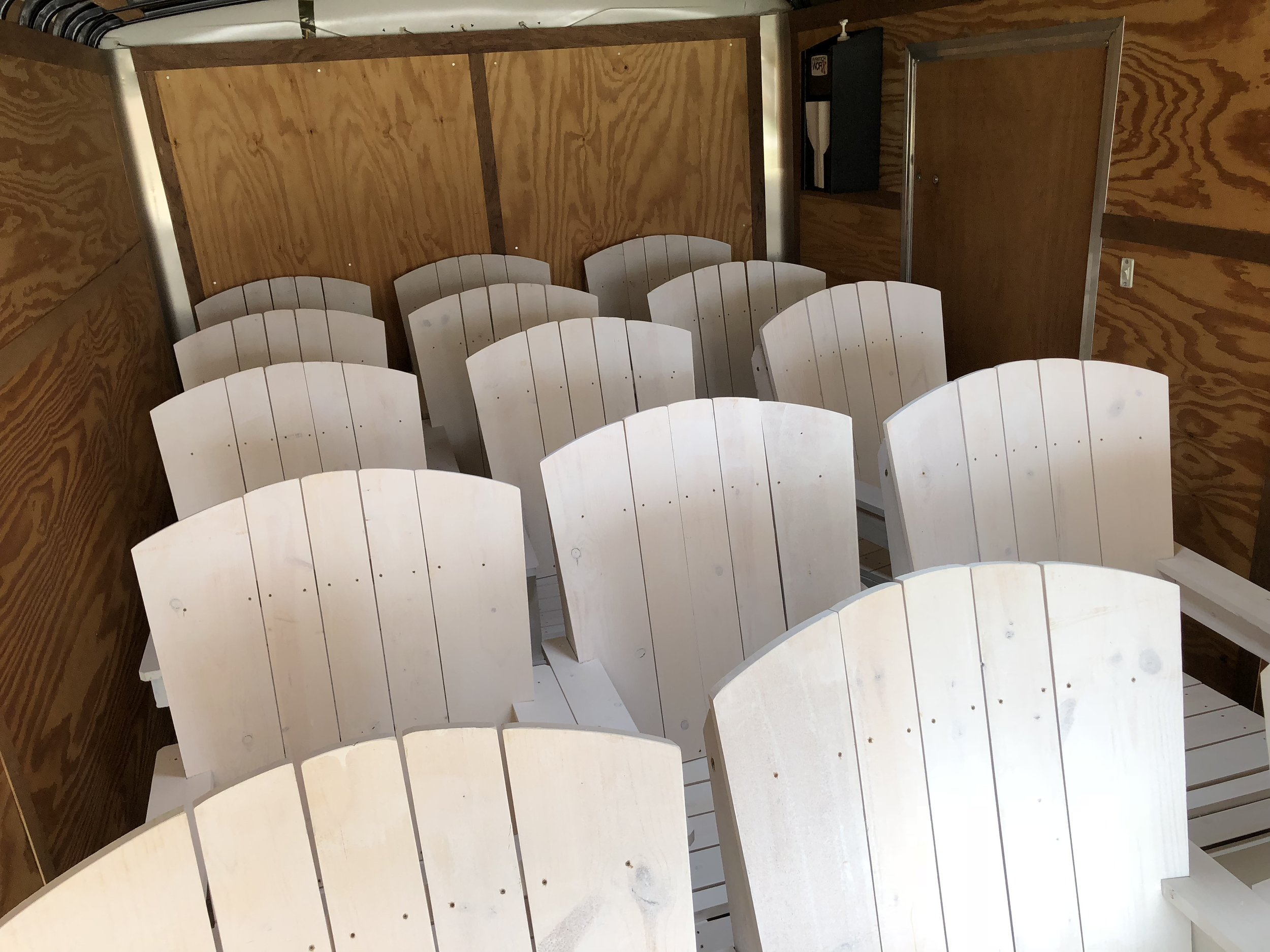 Completed Chairs in trailer