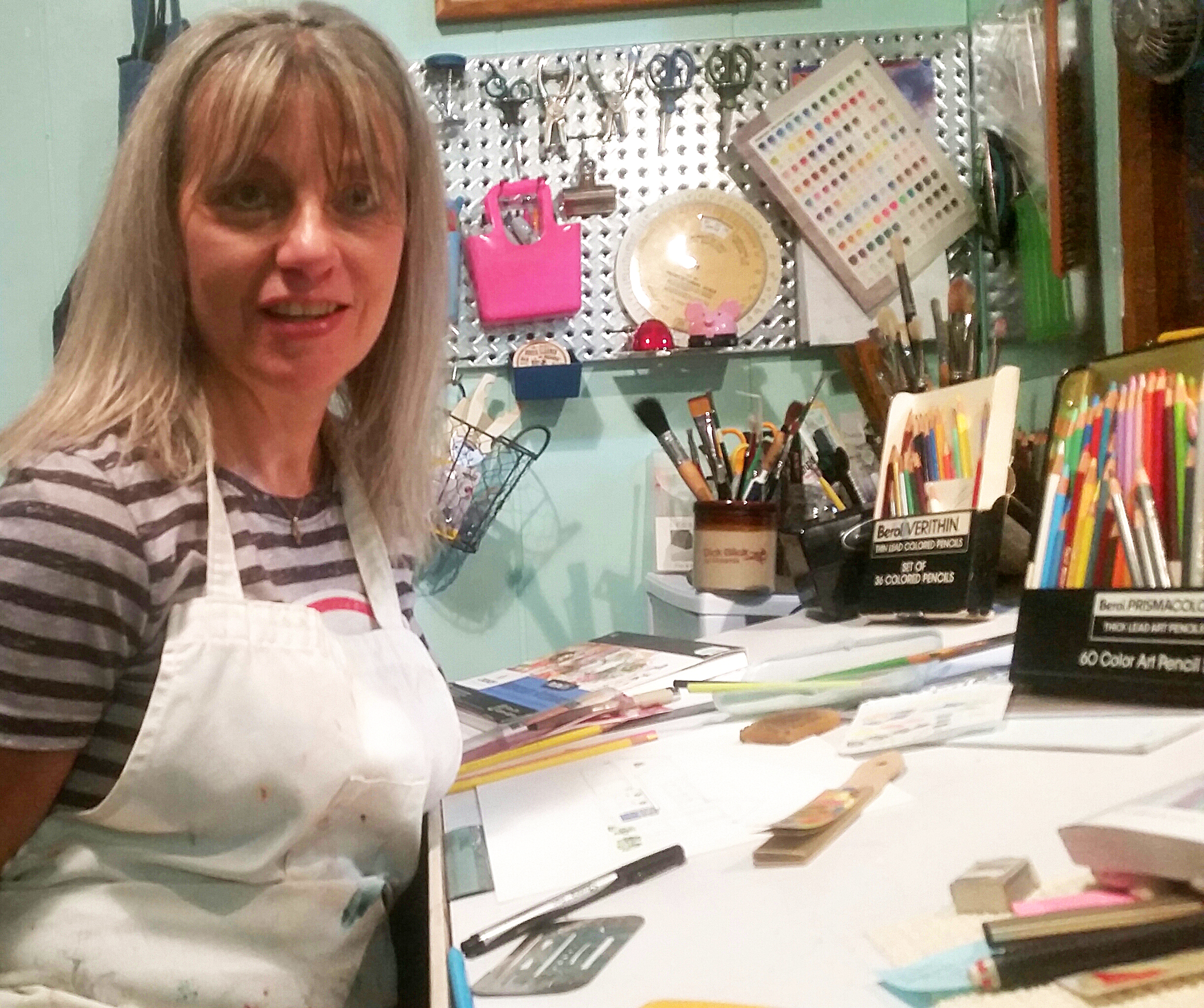Artist, Mary Spahr, in her studio.
