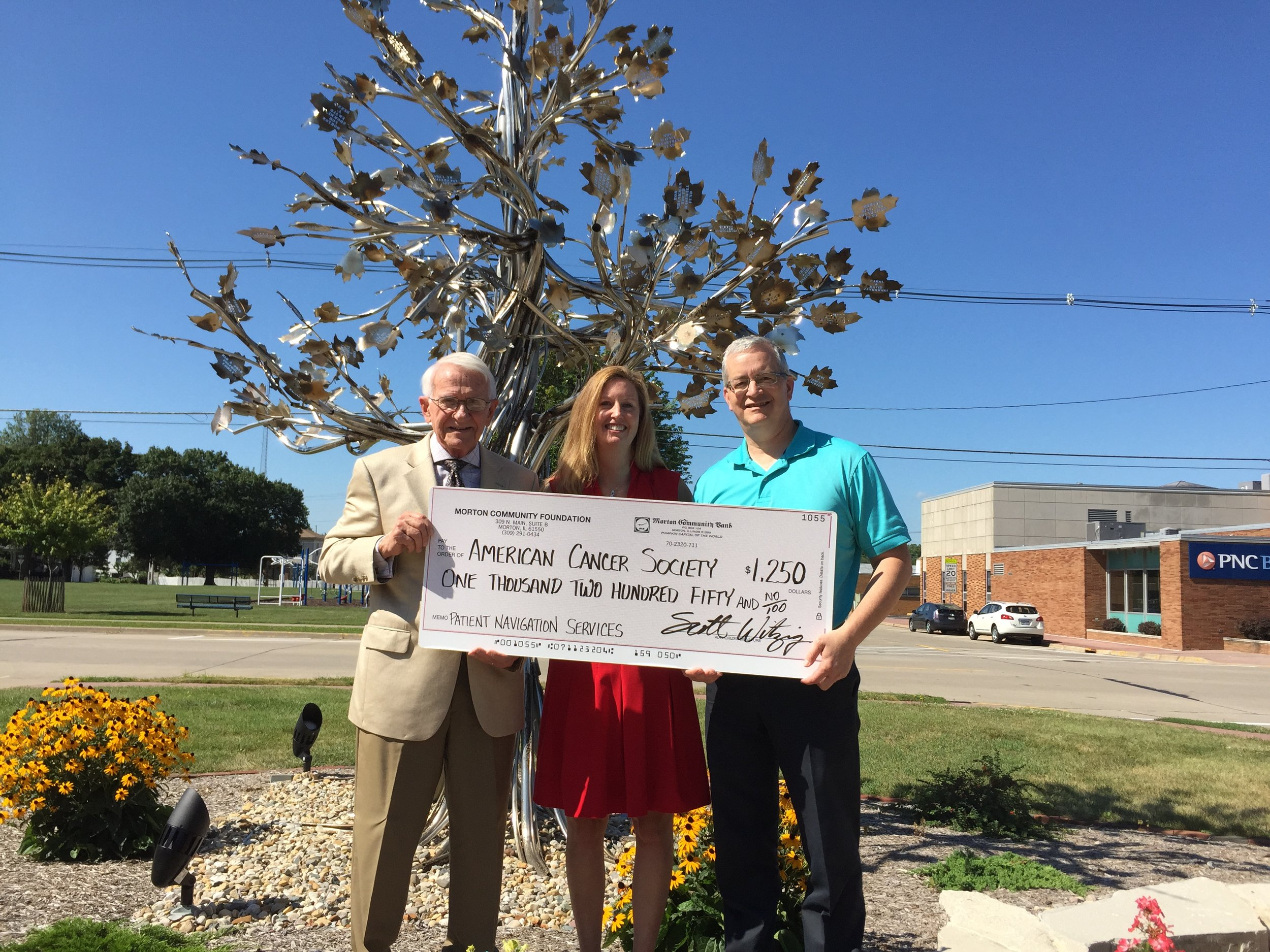 Left to Right...Cary's father, Arlan Martin; Brenda Martin, ACS; Scott Witzig, MCF...2015 - First Grant
