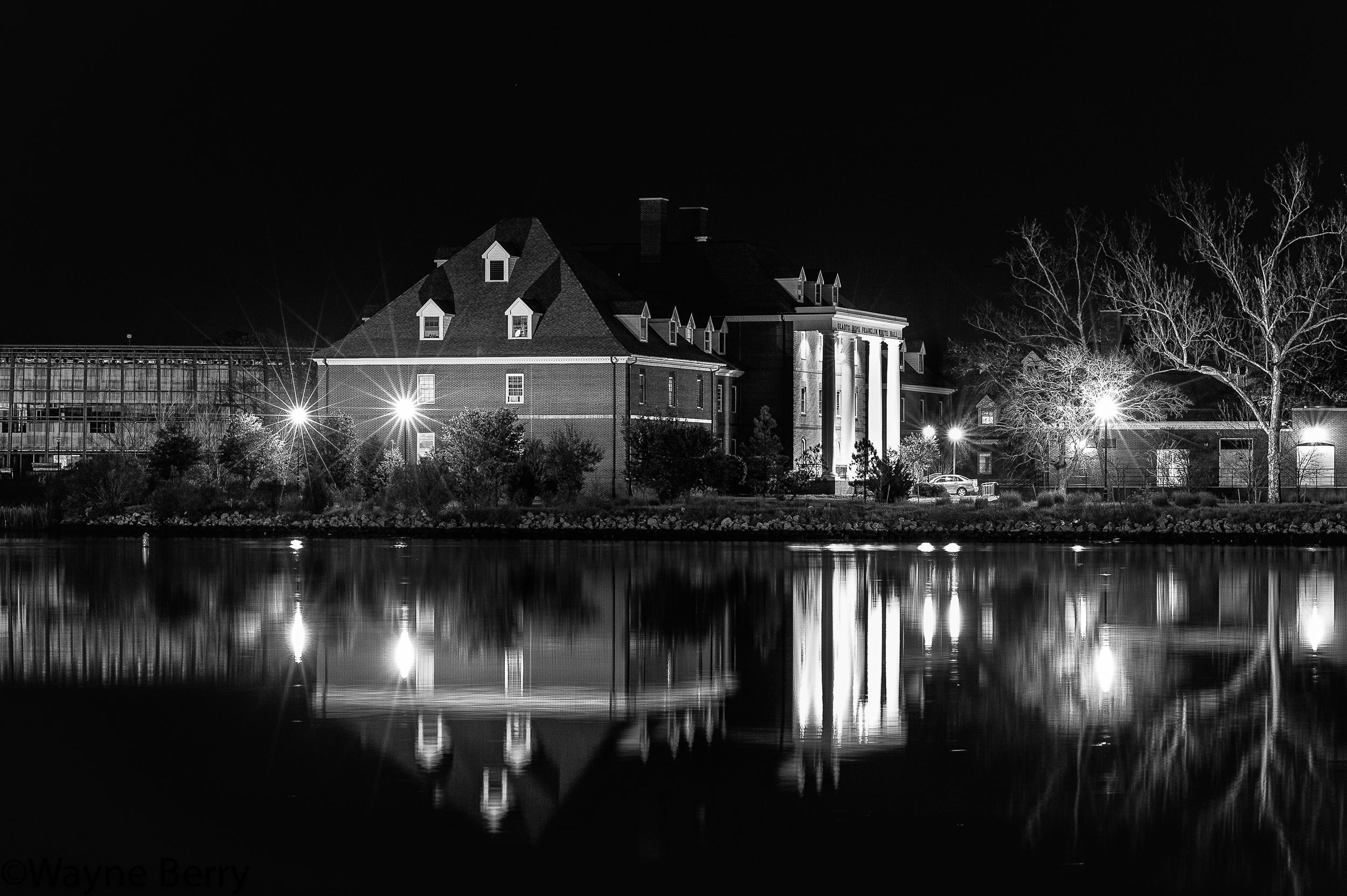Hampton University at night.