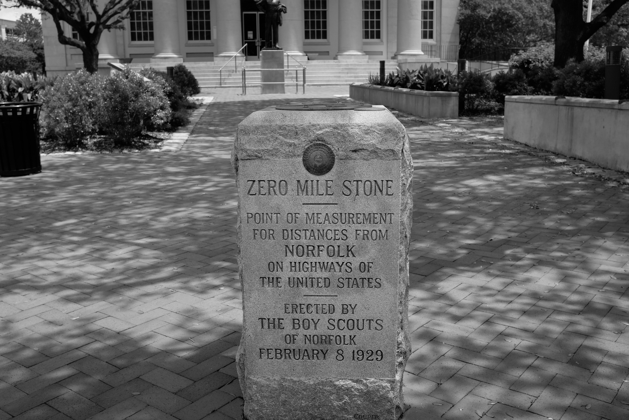 In front of the MacArthur Memorial in Norfolk
