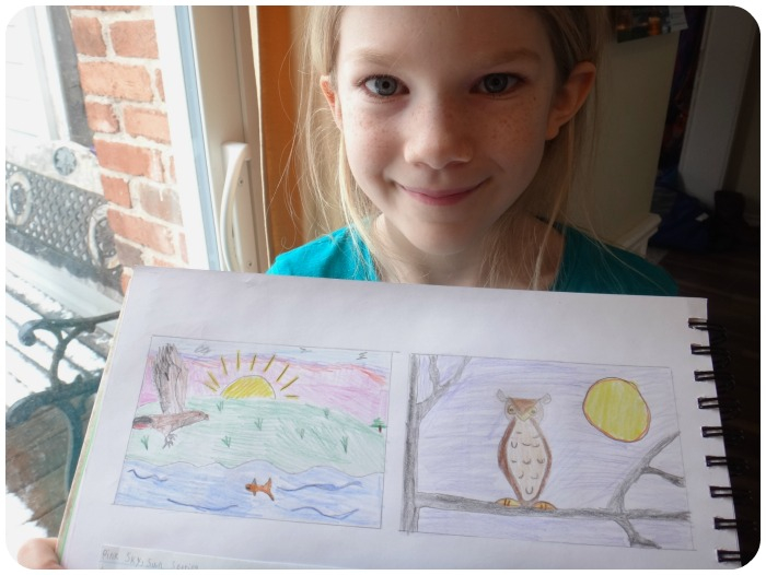 Cassandra's daughter showing her drawing of the owl. The Unplugged Family,