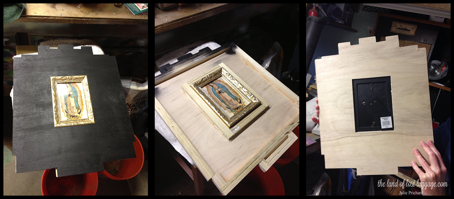 From left to right: The piece without her tiles; the top removed to see the inner structure; the back of the piece.