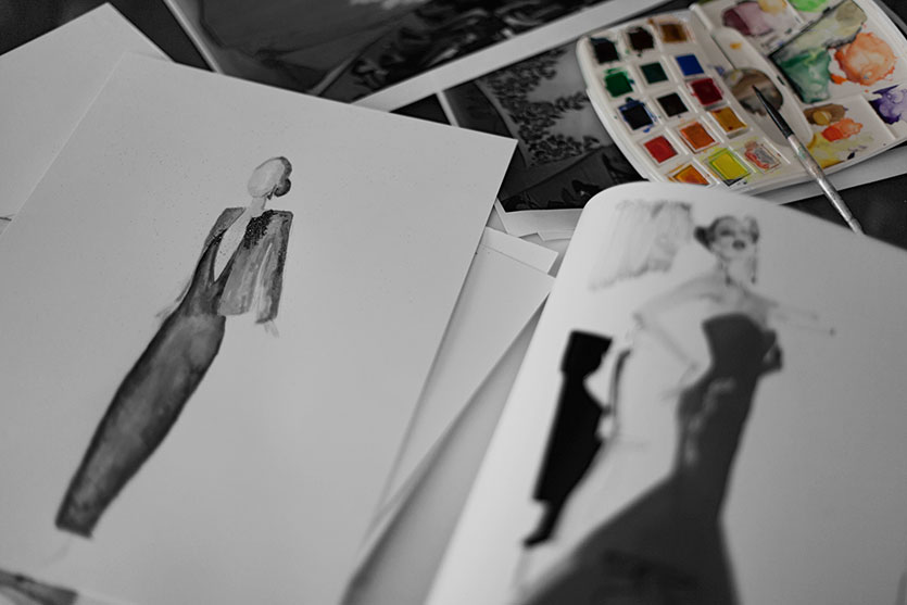 "On the left, my experiment. On the right: a page from the book ""Masters of Fashion Illustration"" by David Downton."