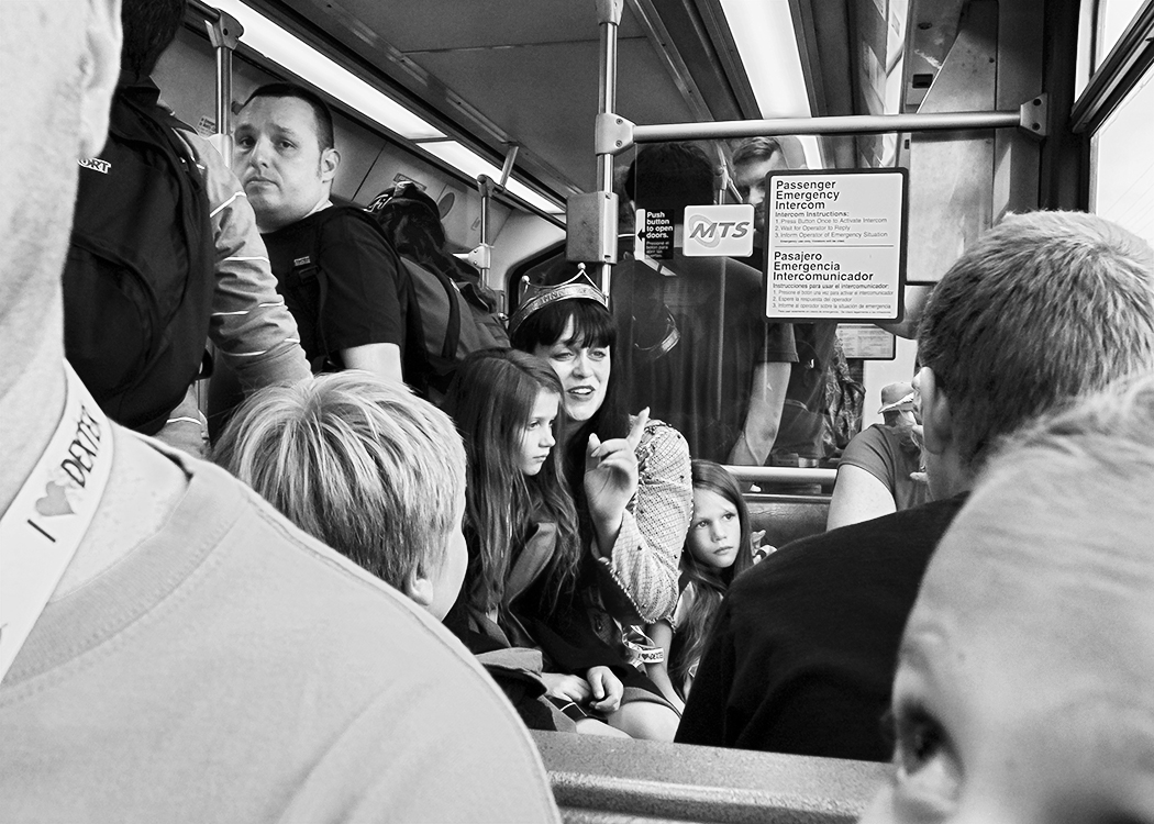 On the San Diego Trolley, County Center/Little Italy