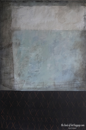 """My original painting, """"The Score""""; Juror's Choice Award, SDAI 2013. The left side of this painting is row after row or repetitive letter 'X'."""