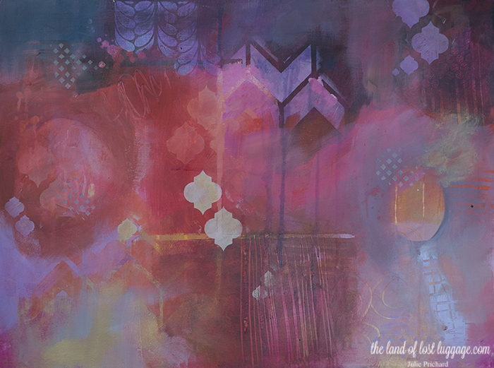 Class sample from the Mixed Media Vacation online workshop. On sale now!