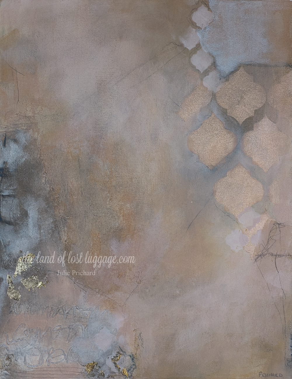 Class sample from the Mucho Metallics online mixed media workshop.