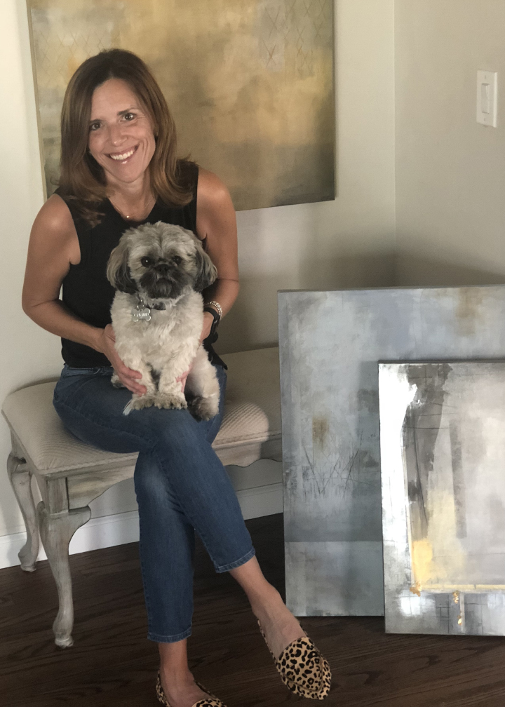 The artist at home with her trusty sidekick, Chewie (age 4).
