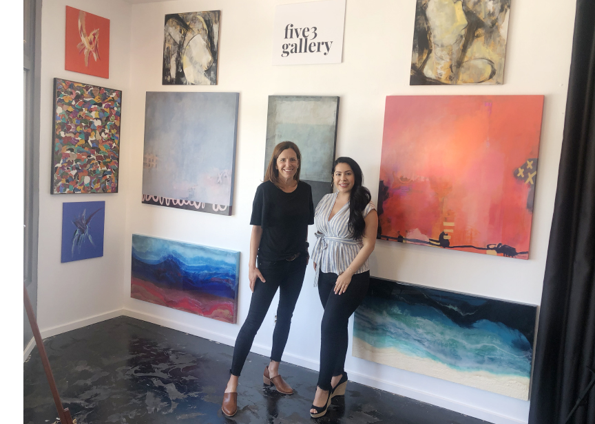 Pictured, Julie Prichard and Brigette Hernandez at Five 3 Gallery, Laguna Beach.