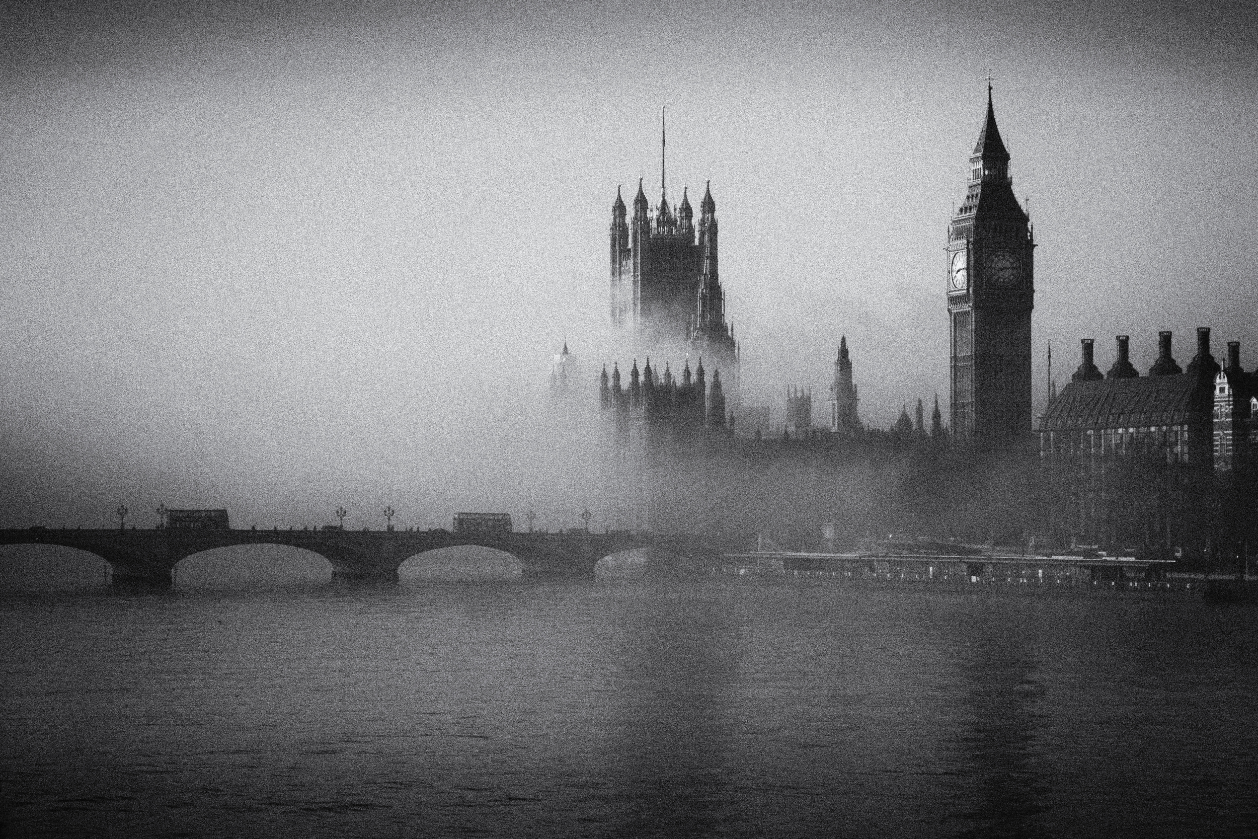 Mist over Big Ben and the Houses of Parliament