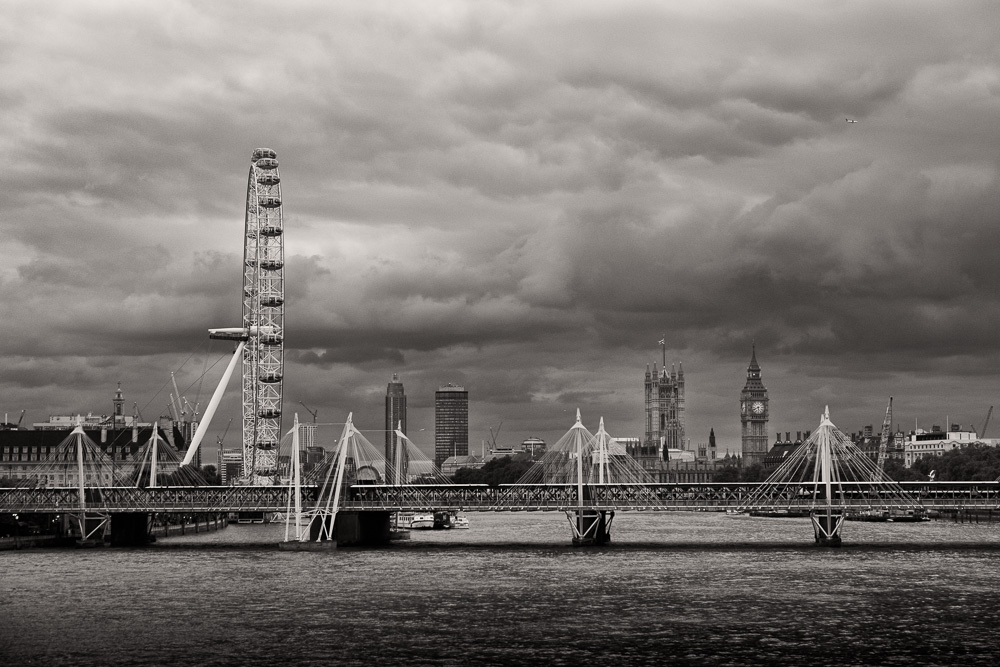 London Eye and the Houses of Parliament from Waterloo Bridge, London
