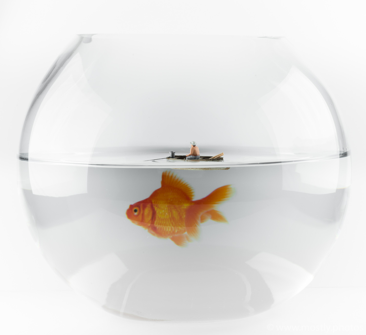 We're going to need a bigger boat! Preiser Model Figure in a Glass Goldfish Bowl