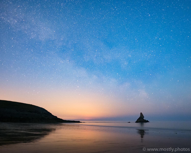 Fuji X-T2 - Fuji 16mm f1.4 - (20 second exposure, ISO 3200, f1.4)  Milky Way over Church Rock  - Broad Haven Beach, Wales