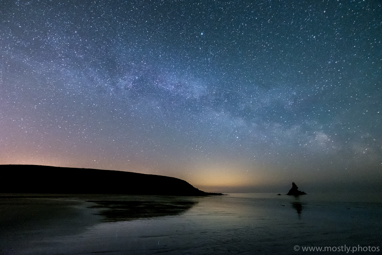 Fuji X-T2 - Fuji 10-24mm f4 - (40 second exposure, ISO 12800, f4)  Milky Way and shooting Star over Church Rock  - Broad Haven Beach, Wales