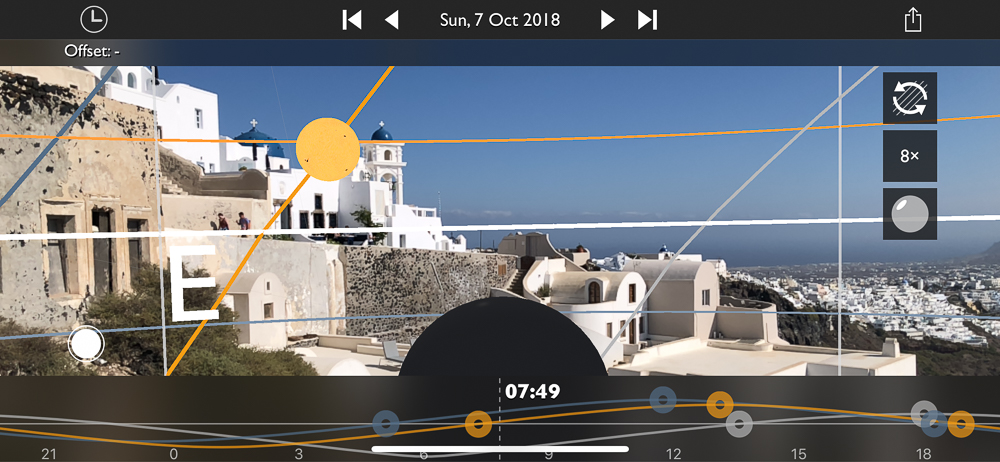 The Photographers Ephemeris - TPE Augmented Reality View showing position of sun just after dawn in Santorini, Greece