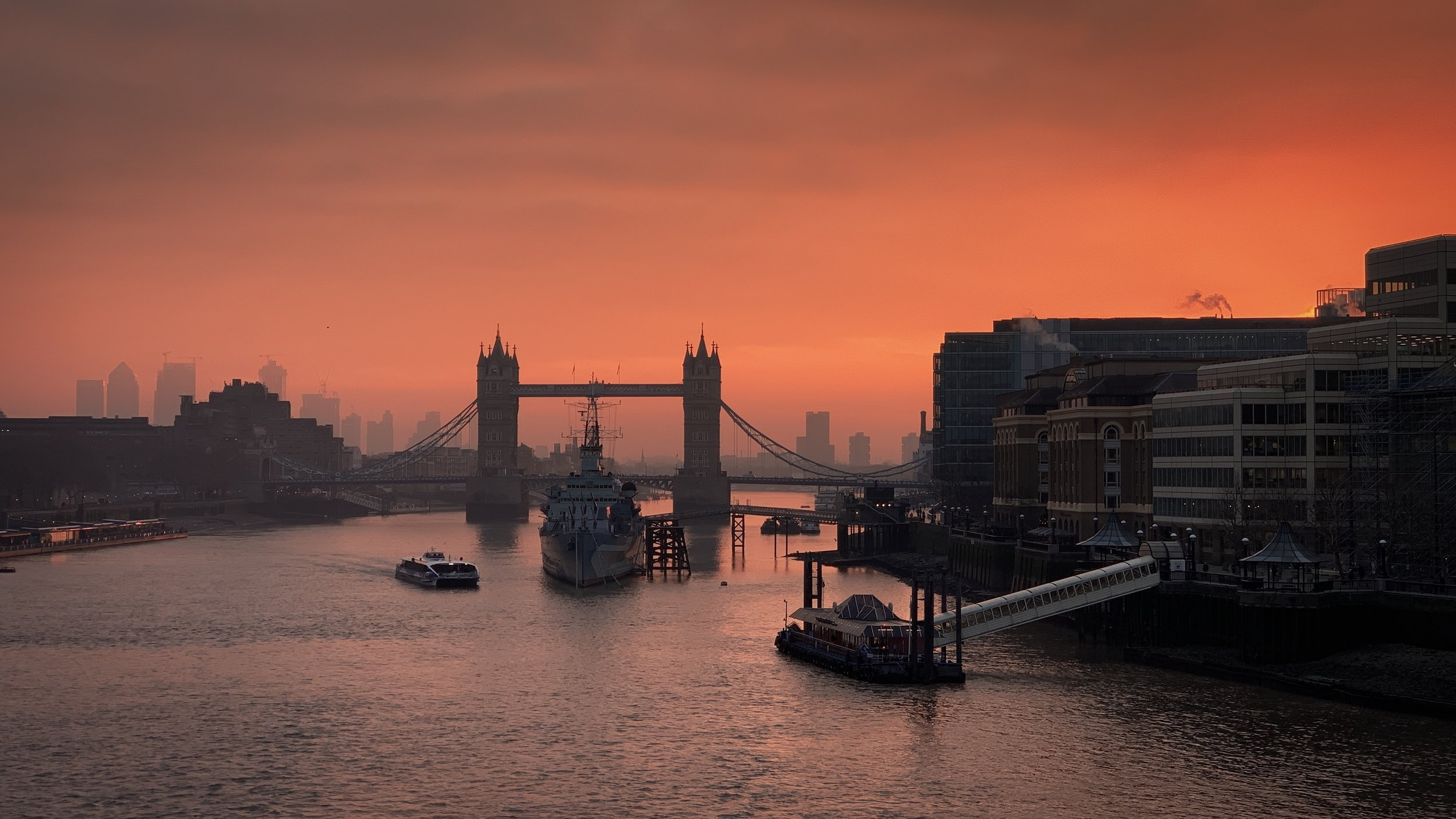 Tower Bridge and the River Thames under a blood red sky iPhone XS