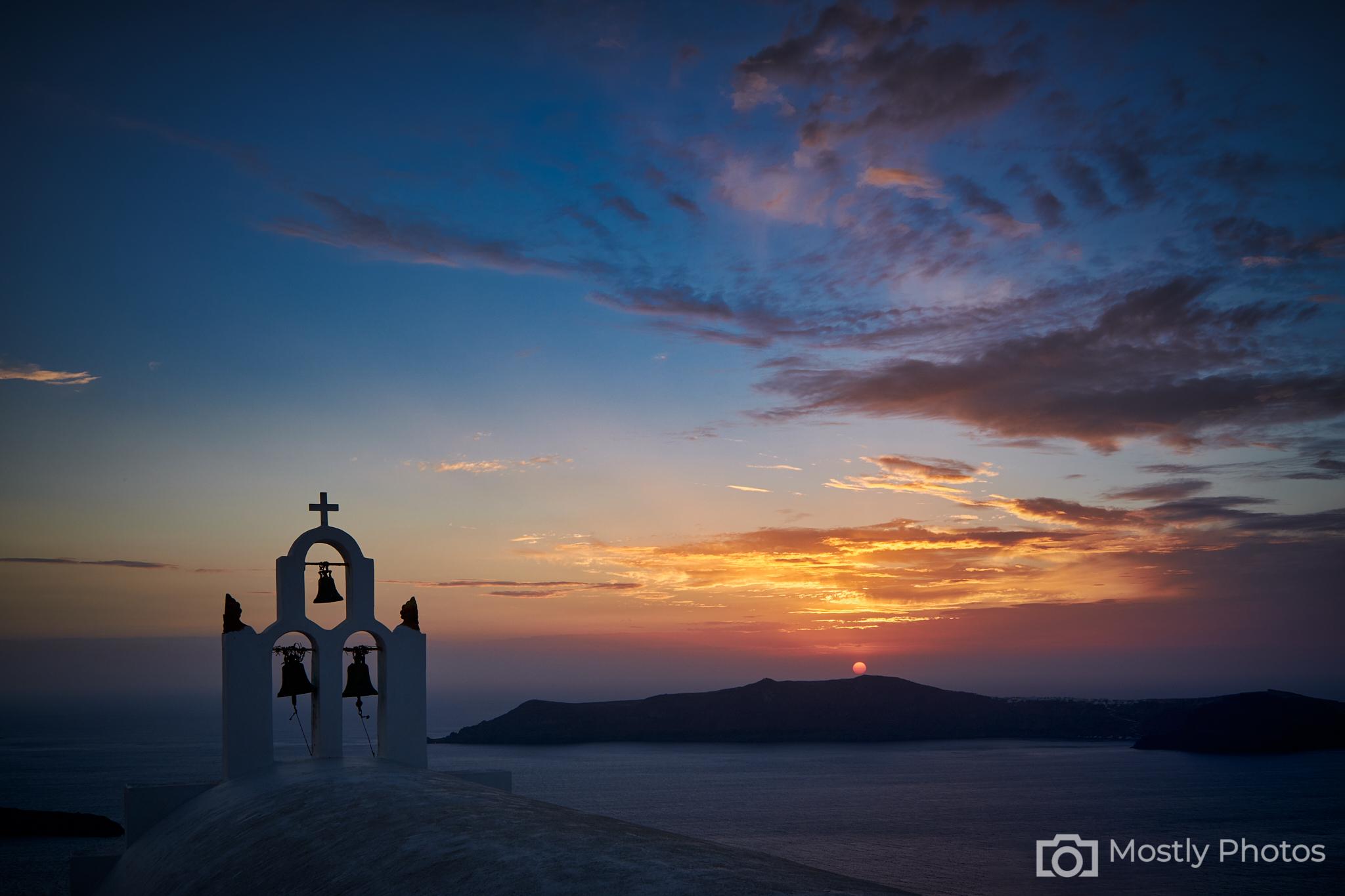 Three Bells Sunset Fuji X-T3 -Santorini, Greece