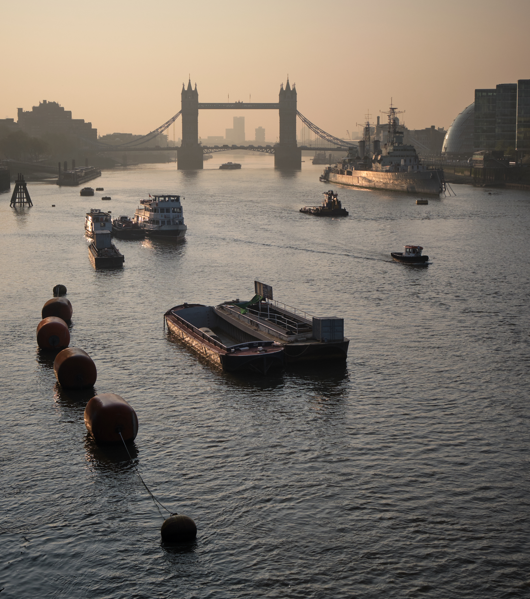 Tower Bridge and HMS Belfast reflected in the Thames Shot on Fuji X-T3 and 16-55mm f2.8