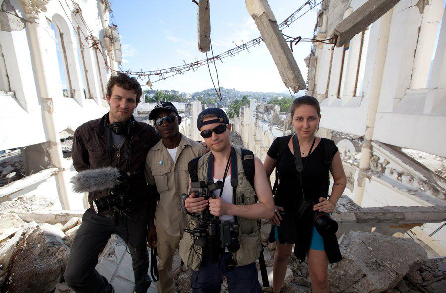 Other journalists and I in Port-au-Prince, Haiti, following the devastating earthquake of January 10th, 2010.
